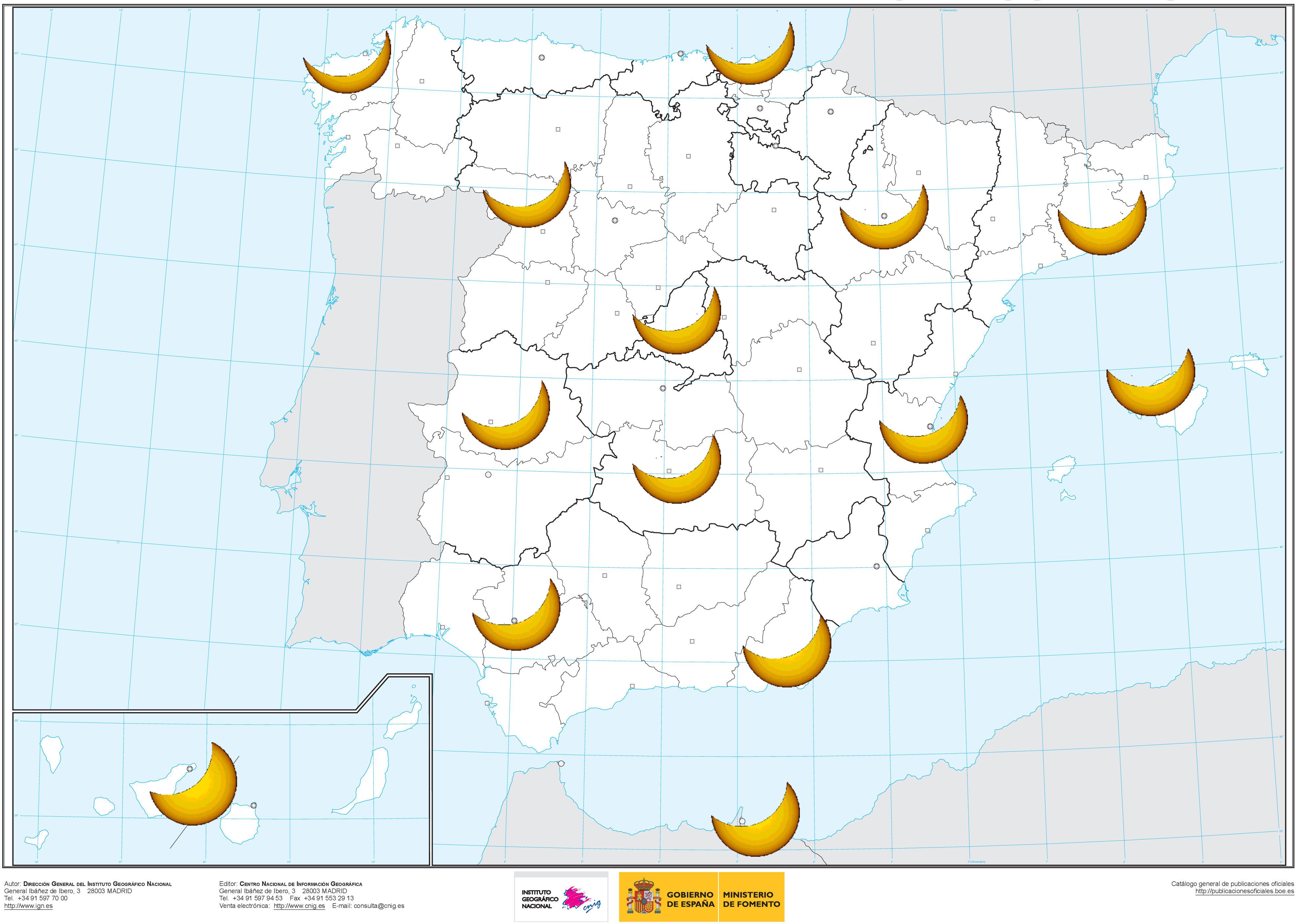 Magnitud del eclipse desde diferentes posiciones